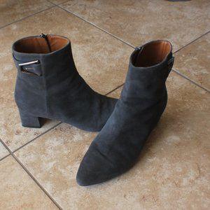 Aquatalia Suade Black Heel Ankle Boots